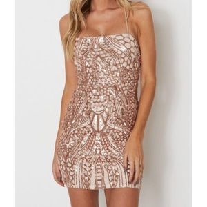 White Fox Boutique Gold Sequin Mini Dress